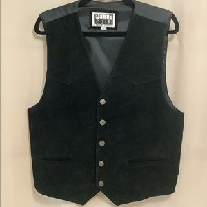 Vintage genuine suede leather western style vest with snap front closure
